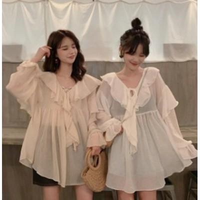 ブラウス レディース 長袖 白 韓国 ファッション 透け感 チュニック トップス フリル シフォン リボン Vネック ゆったり 無地 大人可愛い