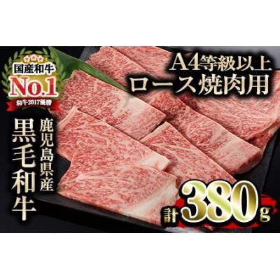 【12473】鹿児島県産A4等級以上黒毛和牛ロース焼肉用(380g)【デリカフーズ】