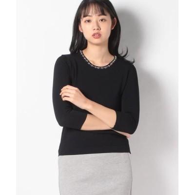 JOCONDE ROYAL/ジョコンダロイヤル ARINA ビーズ刺繍 ニットプルオーバー ネイビー 38
