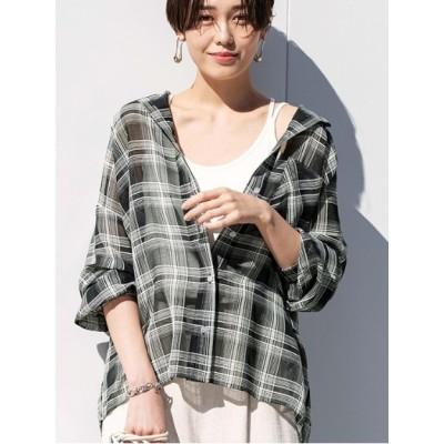 【大きいサイズ】【L-3L】シアーチェックゆるビッグシャツ 大きいサイズ トップス・チュニック レディース