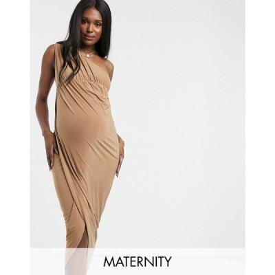 クラブエル Club L Maternity レディース ワンピース マタニティウェア Club L London Maternity Slinky One Shoulder Maxi Dress With Thigh Split キャメル