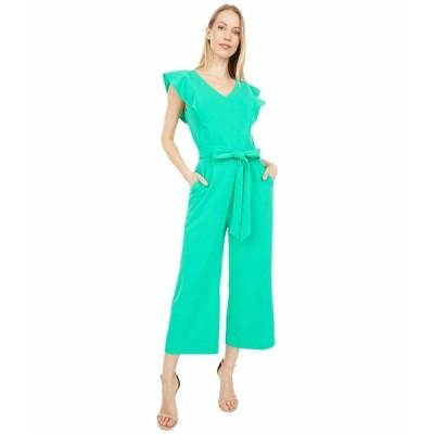 タハリ ジャンプスーツ トップス レディース Stretch Crepe Ruffle Shoulder Cropped Leg Jumpsuit Dynasty Green