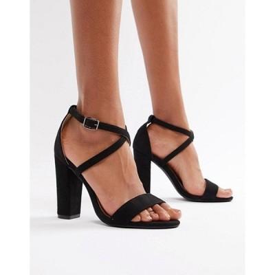 グラマラス レディース ヒール シューズ Glamorous Cross Strap Heeled Sandals in Black