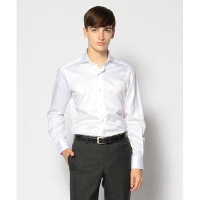 TOMORROWLAND/トゥモローランド 120/2コットンヘリンボーン ワイドカラー ドレスシャツ NEW WIDE-5 11 ホワイト 42