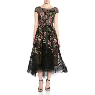 マルケッサ レディース ワンピース トップス Black Floral Ribbon Lace A-Line Dress BLACK
