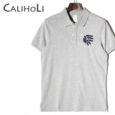 カリホリ CaliHoli 半袖ラガーシャツ メンズ インディアンモチーフ コットン ポロシャツ CAB3210