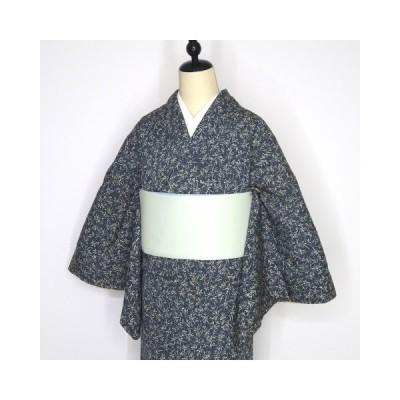 小紋 青鼠色に小花柄 しつけ付き 美品 手縫い 正絹 トールサイズ L お買い得 グレー モノトーン
