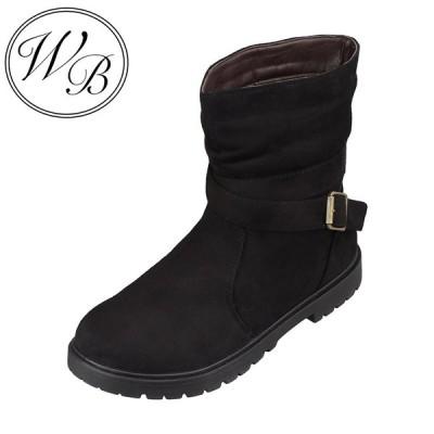 ウィルビー WILL BE WB-1012 レディース   ブーツ ショートブーツ   防水 雨の日   ベロア調   人気 デザイン   ブラック