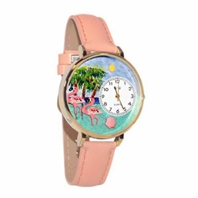 腕時計 気まぐれなかわいい プレゼント Flamingo Pink Leather and Goldtone Watch #WG-G0150001