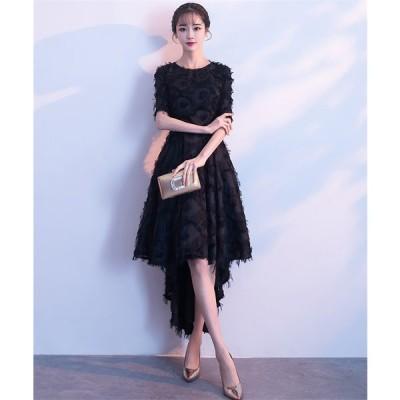 ショートドレス カラードレス ウェディングドレス 結婚式 パーティードレス 大きいサイズ ミニドレス ワンピース 披露宴 二次会 発表会 入学式[ブラック]