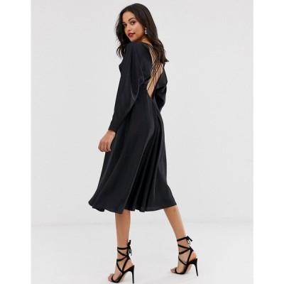 エイソス ASOS EDITION レディース ワンピース ワンピース・ドレス lattice back midi dress in satin Black
