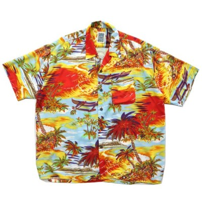 レーヨン アロハシャツ 開襟 サイズ表記:XL