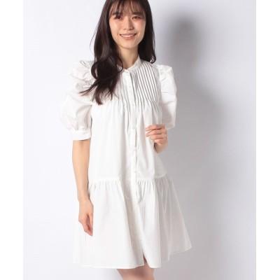 【アラマンダ】 ピンタックティアードシャツ5分袖/ワンピース レディース オフホワイト 38 allamanda