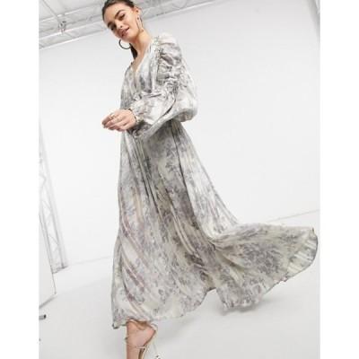 エイソス レディース ワンピース トップス ASOS DESIGN chain insert printed maxi dress in floral print and satin stripe