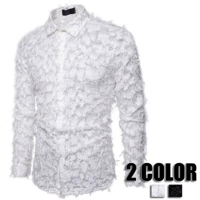 シャツ メンズ 長袖 欧米風 カジュアルシャツ メンズ 夏物 春物 ゆったりシャツ パーティー メンズファッション 2色