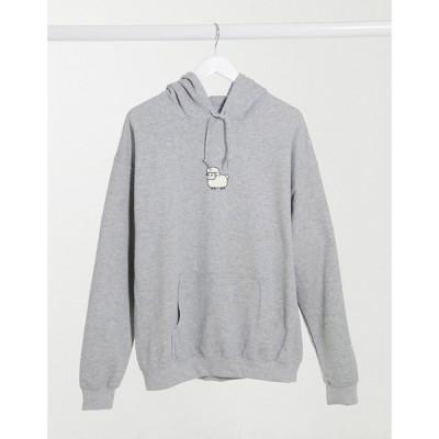 ニューラブクラブ New Love Club レディース パーカー トップス oversized hoodie with sheep print in grey グレー