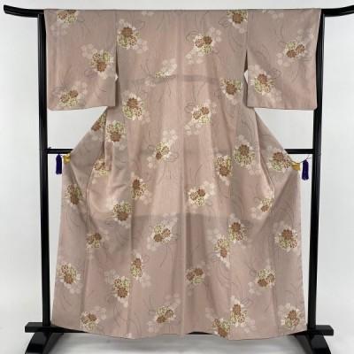在庫一掃 小紋 美品 秀品 花束 シルエット 薄ピンク 袷 身丈160cm 裄丈64cm M 化繊 中古