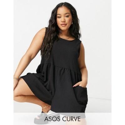 エイソス ASOS Curve レディース オールインワン ショート ノースリーブ ASOS DESIGN curve smock sleeveless textured playsuit with pockets in black