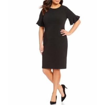 カルバンクライン レディース ワンピース トップス Plus Size Ruffle Sleeve Sheath Dress Black