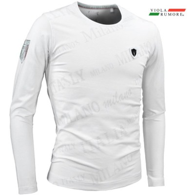 VIOLA ヴィオラ ビオラ Tシャツ クルーネック 斜めロゴ 総柄 ストレッチ 細身 切り替え 長袖Tシャツ mens メンズ(ホワイト白) 11117