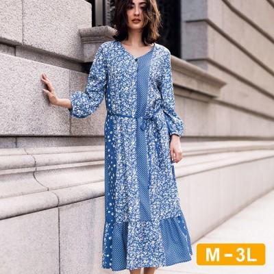 Ranan 【M~3L】プリント切替ワンピ ブルー L レディース