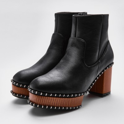 ウッドソール調ステッチブーツ(ブラック×LL 24.5cm)