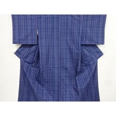 宗sou 格子模様織り出し手織り紬着物アンサンブル【リサイクル】【着】