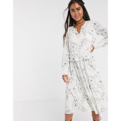 ワイエーエス レディース ワンピース トップス Y.A.S midi smock dress in white with abstract print