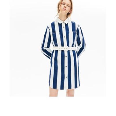 ストライプコットンシャツドレス