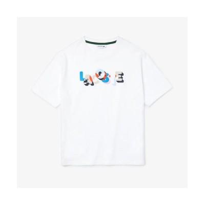 LACOSTE/ラコステ カラーロゴプリントクルーネックTシャツ ホワイト 36(M)