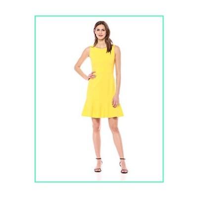 Lark & Ro Women's Sleeveless Crew Neck Ruffle Hem Sheath Dress, Duchess Yellow, 12並行輸入品