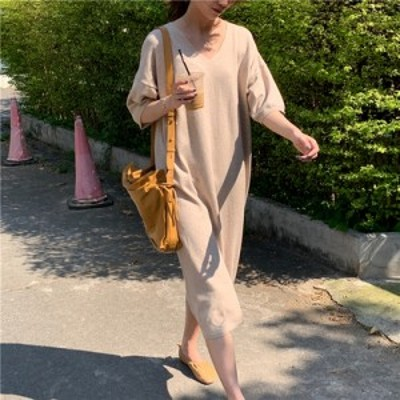 フレアワンピース ロング丈 体型カバー ゆったり オーバーサイズ  Vネック  大人可愛い ガーリー カジュアル 韓国ファッション トレンド