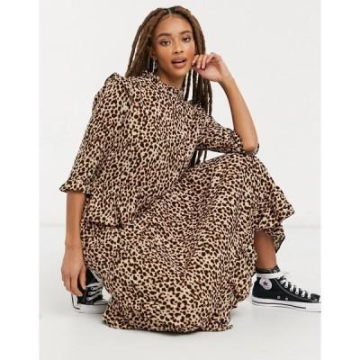 ニュールック ミディドレス レディース New Look frill shoulder midi dress in brown animal pattern エイソス ASOS ブラウン 茶