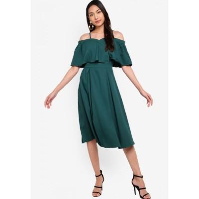 ザローラ ZALORA レディース パーティードレス ワンピース・ドレス Cold Shoulder Ruffle Detail Pleated Dress Forest Green