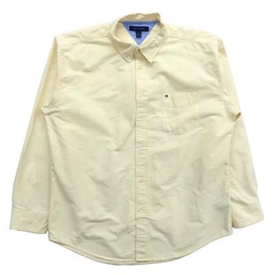 TOMMY トミー ヒルフィガー ボタンダウンシャツ ストライプ 長袖 イエロー ホワイト サイズ表記:XL