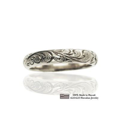 ハワイアンジュエリー リング 指輪 結婚指輪 オーダーメイド お手軽な1.25mm厚 幅4mm 14k ホワイトゴールド バレルリング