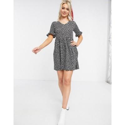 ウェンズデーガール ミニドレス レディース Wednesday's Girl mini smock dress in monochrome floral エイソス ASOS ブラック 黒