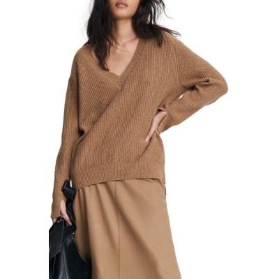ラグアンドボーン レディース ニット&セーター アウター Pierce Cashmere V-Neck Sweater Camelhthr