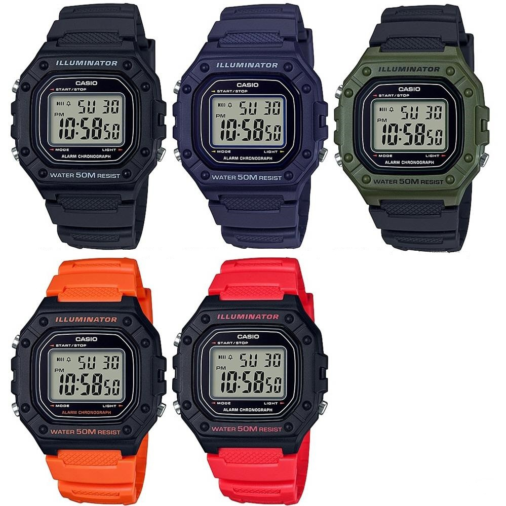 卡西歐CASIO腕錶經典造型之一W-218H-2A W-218H-1A W-800H-1A防水50M 當兵/學生