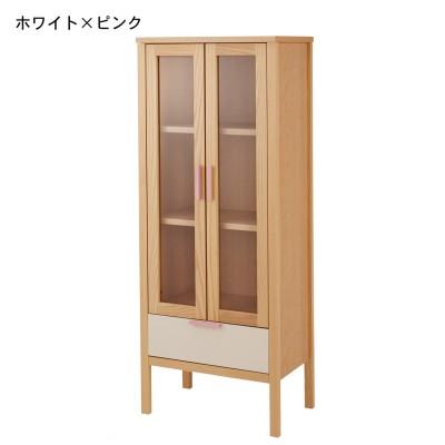 ガラス扉付きシンプルラック・本棚(小島工芸)