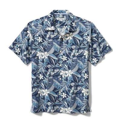 トッミーバハマ メンズ シャツ トップス Big & Tall Paradise Plumeria Short-Sleeve Woven Camp Shirt Bering Blue