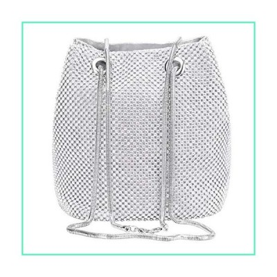 Selighting Rhinestones Crystal Clutch Evening Bags for Women Crossbody Shoulder Bucket Bags Prom Party Wedding Purses (One Size, Silver Bucket)並行
