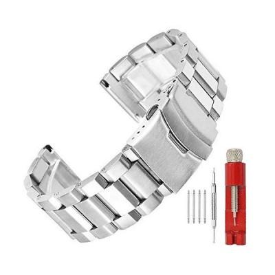 ブラシマット仕上げ メタル腕時計バンド ステンレススチールブレスレットストラップ 18mm/20mm/22mm/24mm ダブルバックル ブラックまた
