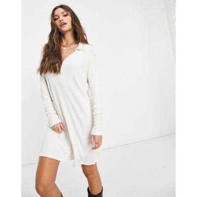 エイソス レディース ワンピース トップス ASOS DESIGN mini ribbed shirt dress in cream