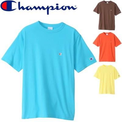 半袖Tシャツ メンズ Champion  チャンピオン ベーシック TEE/丸首 ワンポイント スポーツ カジュアル 無地 シンプル 男性 半袖シャツ トップス/C3-P300-