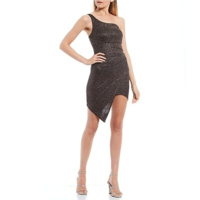 ハニーアンドロージー レディース ワンピース トップス One Shoulder Asymmetric Glitter Knit Dress