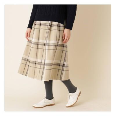 【クチュール ブローチ/Couture brooch】 【手洗い可】ビックチェックレースアップフレアスカート
