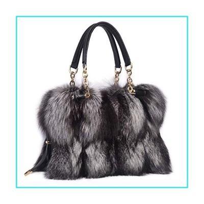 ZIYIUI Women's Ladies handbag 100% Real Fox Fur Leather Messenger Bags Fashion Womens Winter warm diagonal package (Gray)【並行輸入品】