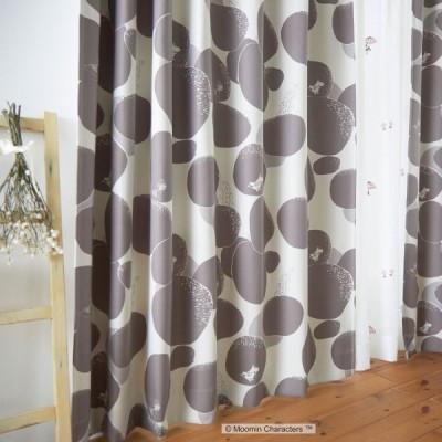ムーミン 遮光カーテン(1枚)100×135 ROCK PATTERN ロックパターン(ダークグレー)A1009 北欧ウォッシャブル 形状記憶加工 国産 日本製