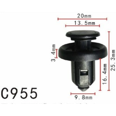 プッシュ リベット ホンダ系 バンパー用 PF-C955 10個
